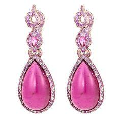 John Hardy Diamond rubelite sapphire 18k rose gold pear drop earrings (167.350 RON) ❤ liked on Polyvore featuring jewelry, earrings, pink, pink earrings, sapphire diamond earrings, sapphire drop earrings, rose gold diamond earrings and pink diamond earrings