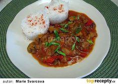 Hlíva ústřičná na paprice a fazolkách recept - TopRecepty.cz 20 Min, Thai Red Curry, Low Carb, Beef, Ethnic Recipes, Food, Red Peppers, Meat, Essen