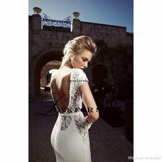 Delicate Sexy 2015 Lace Mermaid Floor Length Wedding dress Backless Short Sleeve Satin Wedding Dresses LYJ013018