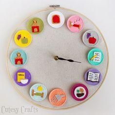 Reloj hecho con un bastidor de bordar y dibujos de fieltro | Broches de Fieltro | Todo sobre la confección de los Broches de Fieltro: Muñecas, Flores, Diseños originales, Patrones