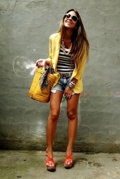 Cute denim shorts, striped t-shirt and yellow blazer outfit #Fashion #Style for women