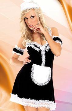 SoftLine Collection Cloe kostium Zniewalający kostium pokojówki. Kusząca sukieneczka z głębokim dekoltem, czepkiem i rękawkami
