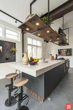 Industrial Kitchen Design, Kitchen Room Design, Modern Kitchen Design, Home Decor Kitchen, Interior Design Kitchen, Home Kitchens, Modern Design, Open Plan Kitchen, New Kitchen