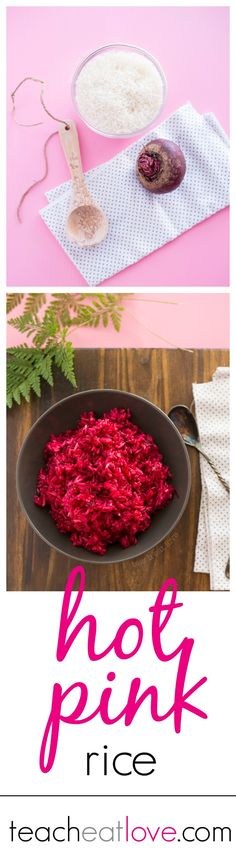two ingredient hot pink jasmine rice. healthy, easy, and a great way to get kids to eat beets! www.teacheatlove.com