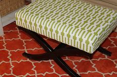 Ottoman Bench reupholstered (it comes in separate pieces so easier to staple the fabric to the top)