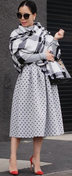 HallieDaily, Style, Street Style, Outfit, Grey Set, Banana Republic Oversized Scarf, Black and White Plaid Scarf, Tibi, Bodysuit, Topshop, Midi Skirt, Polka Dot Skirt, Dior, Pearl Earrings, Lady Dior Bag, Gianvito Rossi, Red Pumps, Shoes, Ladylike, Elegant, 50's Style, Fall Style, Church Outfit #halliedaily