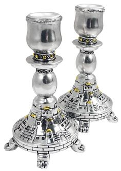 Traditions Jewish Gifts has some great Jewish wedding gift ideas like these Jerusalem theme shabbat candlesticks.