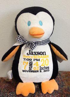 Personalized Baby Gift Monogrammed Penguin Birth Announcement by WorldClassEmbroidery, $39.99