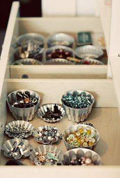muffin tins for jewelry storage