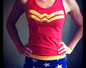 Wonder Woman and other assorted running costumes
