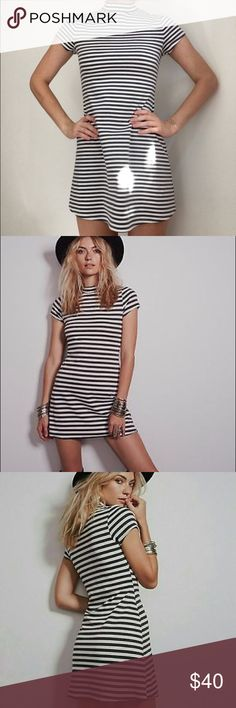 Free People FP Beach Mock Neck Ponte Dress NWT Free People dress with mock neck and dark gray/white stripes from their FP Beach collection. Ponte fabric, so it is form fitting. Free People Dresses Mini