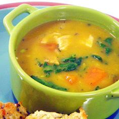 Inspired By eRecipeCards: Chicken, Kale, Sweet Potatoes in a Silky Butternut Squash Soup