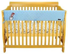 Amazon.com: Best Seller Dr. Seuss Cat In The Hat Blue Star Velour CribWrap® Wide Rail Cover For Crib Front/Back by Trend Lab: Baby