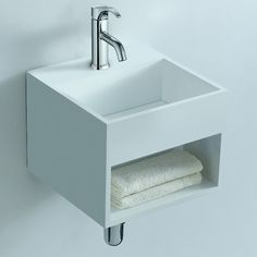 Soakology Ice S-Cast Solid Surface Wash Basin - In-built Shelf. Cool by name, cool by nature, the Ice S-Cast wash basin would be at home in any modern bathroom Wall Mounted Basins, Wall Mounted Toilet, Wc Design, Design Moderne, Solid Surface, Minimalist Living, Minimalist Decor, Minimalist Design, Modern Bathroom