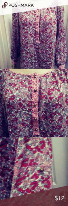 Label of Graded Goods Boho Flower Shirt Red/Pink Boho Flower Shirt Beautiful flowers shirt size 1p Sleeve can be fold up or down whit gold botton Made in India Label of Graded Goods Tops Blouses