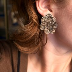 patterned wood earrings-very unique!