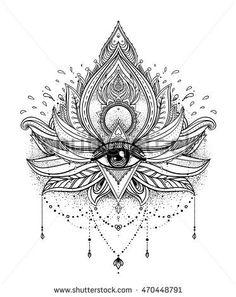 Vector ornamental Lotus flower, all-seeing eye, patterned Indian paisley. Hand…: