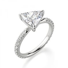 A trendy take on timeless. The East-West Accented Trillion sets a traditionally vertical Nexus Diamond™ alternative on its side. It is a study in duality. Trillion Engagement Ring, Trillion Ring, Engagement Ring Settings, Engagement Rings, Diamond Alternatives, Stone Pictures, Mom Jewelry, Dwayne Johnson, Frost