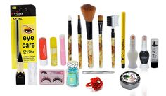 "Adbeni+Fashion+Color+Combo+Makeup+Sets+19IN1 ""3+Type+kajal+::+2+Lip+Gloss+::+1+Lipstick::+1+eye+&+Lipliner+::+1+5in1+Brush+::+2+Two+In+1+Nail+Art/Nail+Polish+::+1+Facial+Oil+Capsules+:: 1+Nail+Remover+Tissue+Paper+32pcs+pads+::+1+Hair+rubber+band+::+1+Eyeleashes+::+1+eyebrow+Plucker+::++ETC""+Price+₹494.00"