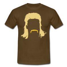 Vokuhila Frisur mit Schnautzbart. Die Klutfrisur vorne-kurz-hinten-lang als Motiv auf dein Shirt mit eingefärbten Bart.