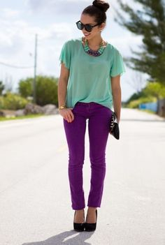 5. Mint Green Blouse With Purple Pants 2017 Street Style
