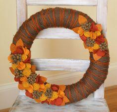 Autumn Burlap & Felt Wreath  Felt Flower Fall by CuriousBloom, $44.95 on Etsy