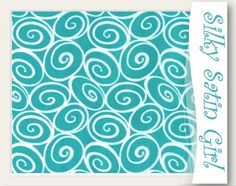 Turquoise Mini Ironwork by Michael Miller, by the yard, turquoise white swirl circle - 1 yard fabric material, iron work. $9.25, via Etsy.