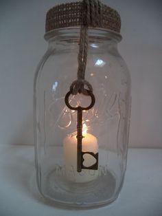 10 Mason Jar Burlap Wedding 50th Annivsary Rustic Gold Key Wrap Decorations AU23 #BurlapBrides