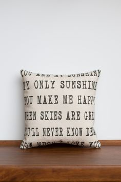 You Are My Sunshine Home Decor Pillow   Children Song Lyrics   Home Decor Gifts Fabric   Custom Pillow   Unique Gift for Her   Gift for Granparent