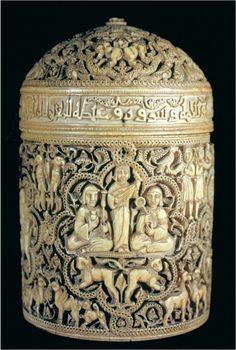 Pyxis of al-Mughira. Umayyad. c. 968 C.E. Ivory.