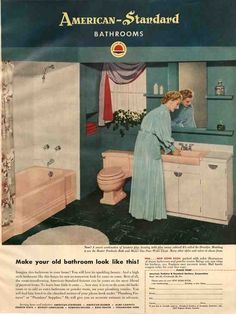 Found a pic of 1950s bathroom. We literally had this tub and toilet in our house when we moved in.