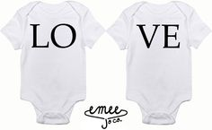 Love Sibling or Twin Set baby girl clothes baby boy clothes