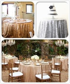 New Champagne Silver Sequin Tablecloth 48 -132   Round for Wedding/Dessert Table