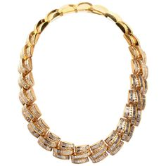 Magnificent Diamond Yellow Gold Necklace | From a unique collection of vintage link necklaces at https://www.1stdibs.com/jewelry/necklaces/link-necklaces/