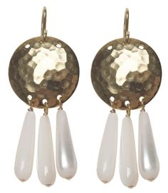 Viv & Ingrid Hammered gold earrings with mother-of-pearl Mother Of Pearl Earrings, Gold Earrings, Modern Jewelry, Metal Jewelry, Acoustic Drum, Hammered Gold, Copper, Ceiling Lights, Texture