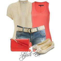 Coral, Beige, Jeans Outfit