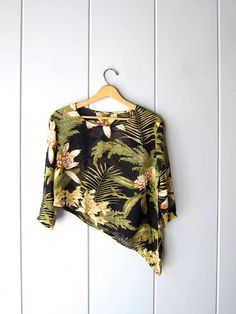 Sheer Floral Blouse Cropped Asymmetrical Safari Top Short Resort Wear, Floral Blouse, Vintage Tops, Safari, How To Wear, Shopping, Etsy, Women, Fashion