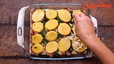 Cartofi gratinati la cuptor. Mozzarella, Zucchini, Bacon, Vegetables, Cooking, Health, Recipes, Food, Kitchen