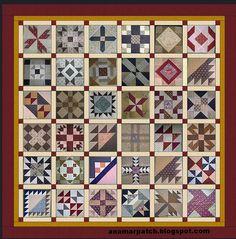 Austen Family Album: A Block of the Week.  36 Sampler Blocks. Set plan by Anna Maria.