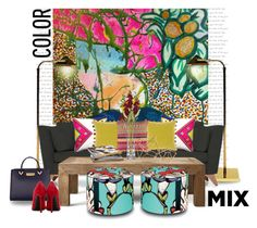 """Color mix..."" by gloriettequartet ❤ liked on Polyvore featuring interior, interiors, interior design, home, home decor, interior decorating, Joybird Furniture, Jonathan Adler, Bluebellgray and Surya"