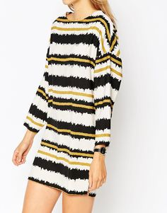 Image 3 of ASOS Scratchy Stripe Shift Dress with Raw Edge Trim