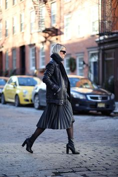Charlotte Groeneveld is wearing a black shearling biker jacket from Whistles