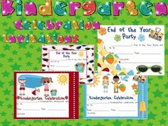 This file contains 4 different invitations for kindergarten celebrations and end of the year parties. Just print and send!So super cute! I hope...