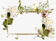 Flower border PNG and Clipart Music Notes Art, Music Wall Art, Borders For Paper, Borders And Frames, Butterfly Frame, Flower Frame, Music Border, Flower Border Png, Music Notes Decorations