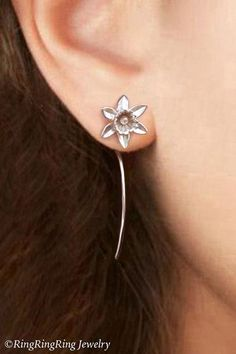 100% Solid .925 Sterling Silver. Cute small Daffodil flower dangle stud earrings with long stems. Unique handmade jewelry by RingRingRing on Etsy.  Flowers with high quality tarnish resistant Argentium Sterling Silver long stems as earwires. They are tempered (with heating and cooling) to make them hard and strong. You will receive a pair of earrings. Includes sterling silver ear-backs.  Total length approx. 1.5 (40 mm). Flower width approx. 0.4 (11 mm).  More LONG STEM FLORAL Earrings Here…
