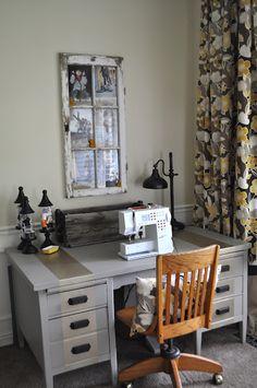 Love this craft room! so stylish. #craftroom