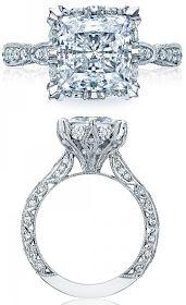 Tacori, diamond engagement ring, wedding, bride, bridal, princess, diamonds, crescent, pave, millegraining, engraving, ribbon, twist, split shank, halo, princess cut, basket
