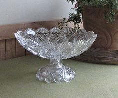 Cut Glass Compote Pedestal Bowl EAPG Footed Fruit Dish