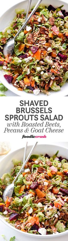 This hearty Brussels sprouts salad sweetened with roasted beets and crunchy pecans is delicious as a vegetarian main dish or served as a side. The tangy mustard dressing softens the bite of the Brussels sprouts with a hint of maple syrup that's topped with creamy goat cheese. | foodiecrush.com
