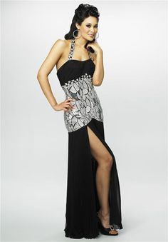 Silver Black Party Dress